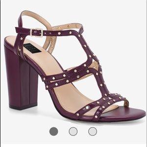 WHBM Cabernet Strap Block Heel Sandal